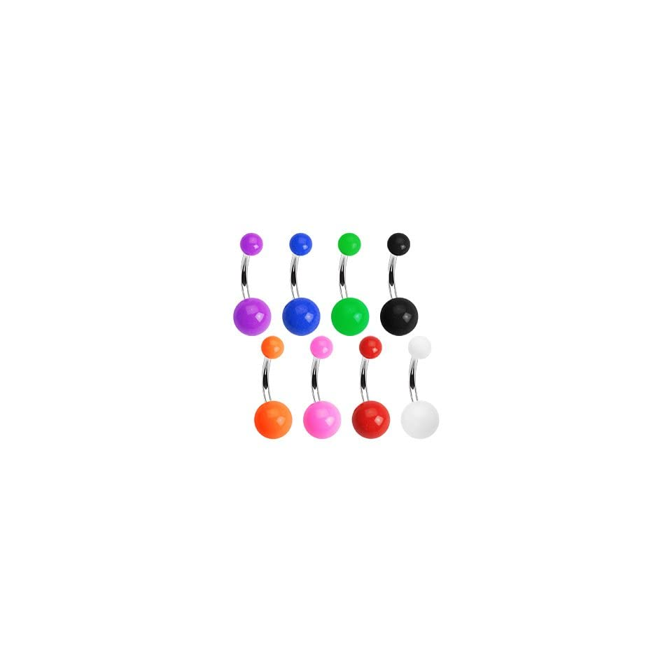 316L Surgical Stainless Steel Belly Rings with Solid color