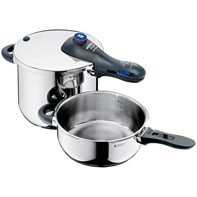 WMF Perfect Plus 6-1/2-liter and 3-liter Stainless-Steel Pressure Cookers with Interchangeable Locking Lid from WMF