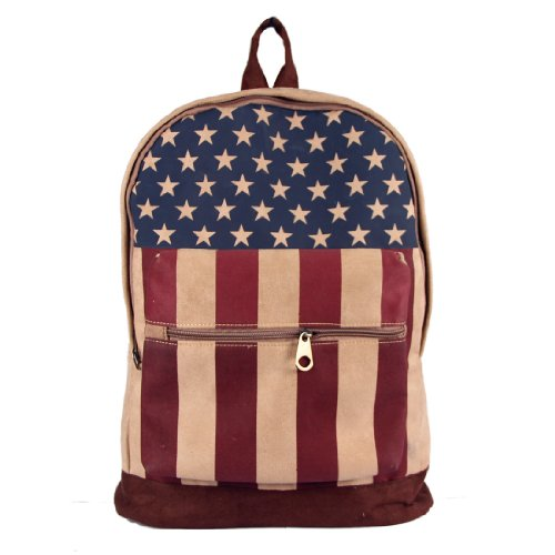 Flag Backpack Canvas School Bag Satchel Shoulder Bag