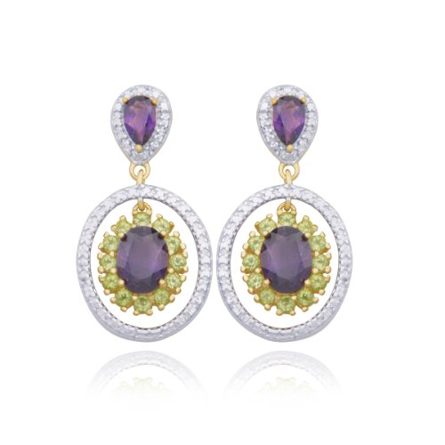 18k Yellow Gold Plated Sterling Silver Genuine Amethyst, Peridot and Diamond Accent Post Circle Earrings