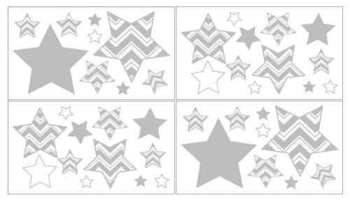 Baby, Childrens and Kids Wall Decal Stickers for Turquoise and Gray Zig Zag Bedding by Sweet Jojo Designs - Set of 4 Sheets - 1