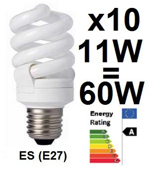 10 X Low Energy Saving Lamp Cfl Spiral Bulbs Es E27 Edison Screw Cap 11w = 60w Equivalant