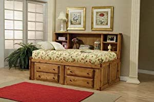 Twin Size Bookcase Bed Cottage Style In Rustic Pine Finish from Coaster Furniture