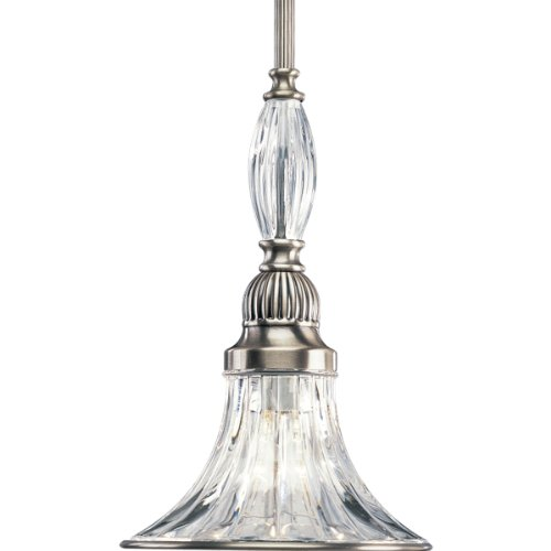 Progress Lighting P5100-101 1-Light Mini-Pendant, Classic Silver front-57094