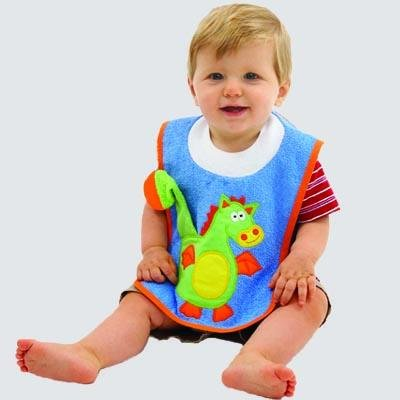 Dragon on Cornblue Teether Bib By Mullins Square