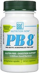 Now PB 8 Pro-Biotic Acidophilus Tablets, Vegetarian, 120-Count Bottles 60 Servings