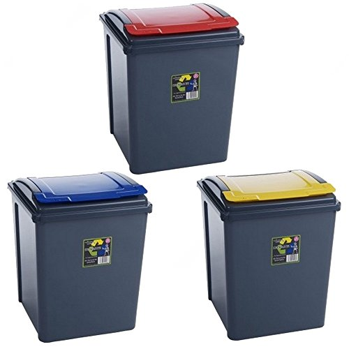 lot de 3 poubelles de recyclage 3669100460724 cuisine maison poubelles de recyclage. Black Bedroom Furniture Sets. Home Design Ideas
