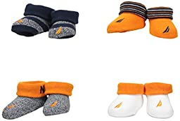 Nautica Baby Boys\' 4 Pack Assorted Booties, Multi, 0-6 Months