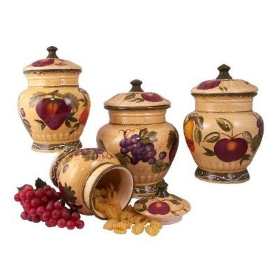 Tuscan canister sets 4pc italian canister set tuscany for Italian kitchen set