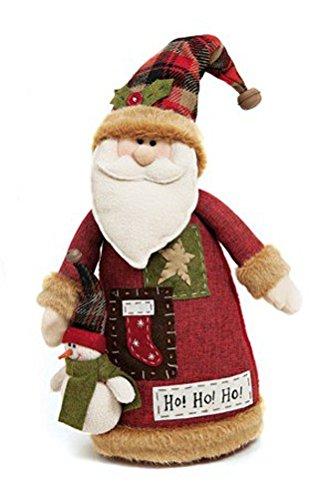 Deko Figur lustiger Weihnachtsmann Figur aus Textil Stoff rot grün weiß Höhe 46 cm groß, Nikolaus Figur mit Flicken-Mantel und kleinem Schneemann für Winter Weihnachten