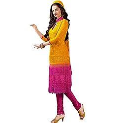 Rozdeal Women Chiffon Dress Material (Rdd101-1598 _Orange _4)