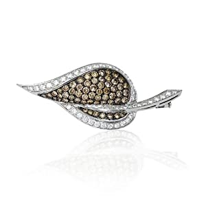 Leo Pizzo Diamond and Black Rhodium 18k White Gold Brooch Pin