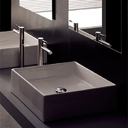 Scarabeo Scarabeo 8031-No Hole-637509854959 Square Washbasin Vessel, White