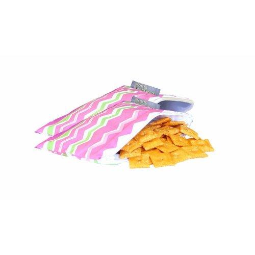 Itzy Ritzy Snack Happenssnack Mini Reusable Snack Bag, Little Miss Zig Zag, 2-Count