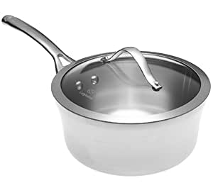 Calphalon Contemporary Stainless 3-1/2-Quart Saucepan with Glass Lid
