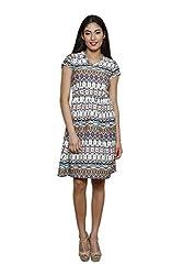LEBE Women's V- Neck Poly Crepe Dress
