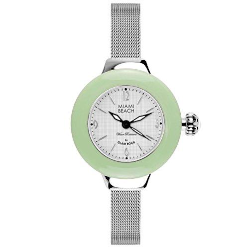 Glam Rock MBD27188 - Reloj para mujeres, correa de acero inoxidable color plateado