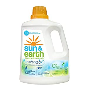 Sun & Earth Natural Laundry Detergent, Unscented,100 Fluid Ounce