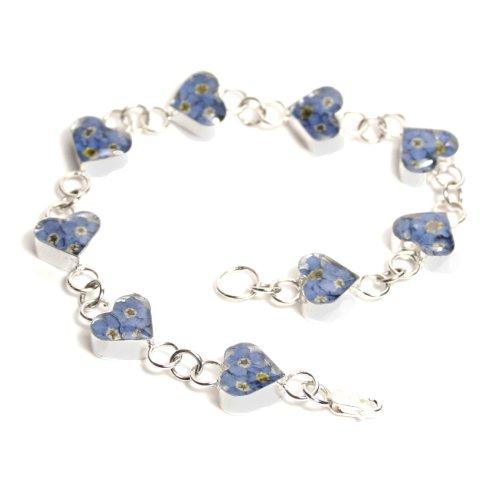 Shrieking Violet - Braccialetto in argento realizzato con veri fiori del non ti scordar di me, scatola regalo inclusa