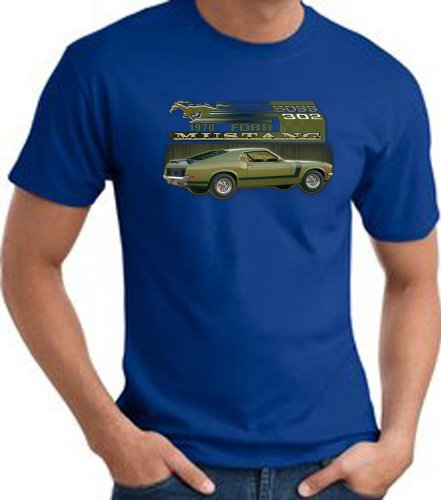 Ford Car 1970 Mustang Boss 302 Classic Adult T-Shirt Tee - Royal, 6Xl
