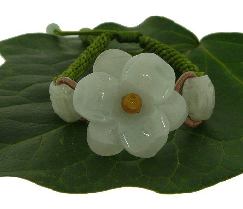 Just a Simple Carving of an Amaryllis Flower Embellished with Oval Jade Beads on Each Side Made with Lime Cord