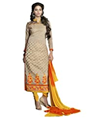 Prafful Cream Chanderi Cotton Embroidered Unstitched Dress Material - B015HBJ7B4