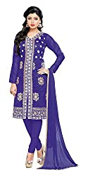 Fashionup Women's Georgette Ethnic Dress Material ( Blue )