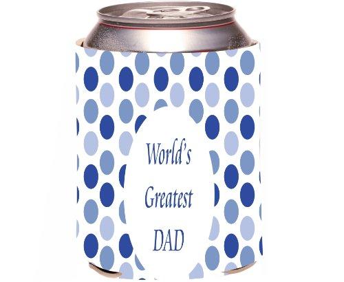 "Rikki Knight ""Worlds Greatest Dad"" Beer Can Soda Drinks Cooler Koozie, Blue Polka Dot Design front-578162"