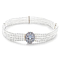4 Rows Chain Pearl Beaded Waist Belt Jewelry Oval Crystal Buckle Waistband for Women