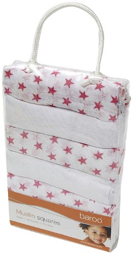Baroo Muslin Squares (Pack of 6, White/ Pink)