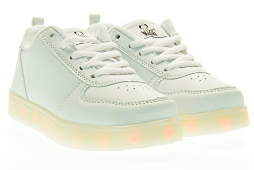 WIZE & OPE junior sneakers basse LED EARTH MADE WHITE 33 Bianco