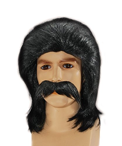 Feather Style Redneck Mullet with Moustache Wig Black One Size (Adult)
