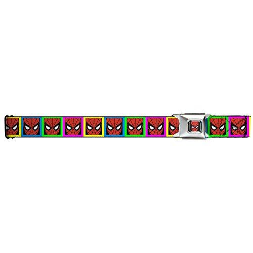 MARVEL COMICS Spiderman Full Color Seatbelt Belt - Spiderman Face Multi Color Blocks X-LARGE Webbing