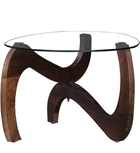 SMARVVV PRODUCTIONS Smart and Stylish Rosewood Material Round Shaped With Glass Top Coffee Table in Standard Size and Weight (BROWN)