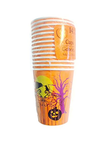 Spooky Orange Halloween Party Paper Cups 14-count, 9 Ounces