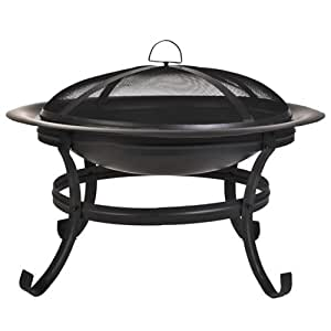 CobraCo Scroll Leg Steel Fire Pit with with Screen and Cover FB1001