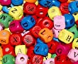 50 Colourful Wooden Alphabet Cube Beads 10mm free Beading Thread For Children""