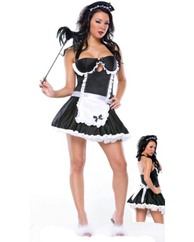Ladies Sexy Retro French Maid Fancy Dress Costume + Matching Thong – Size Medium 10 to 12