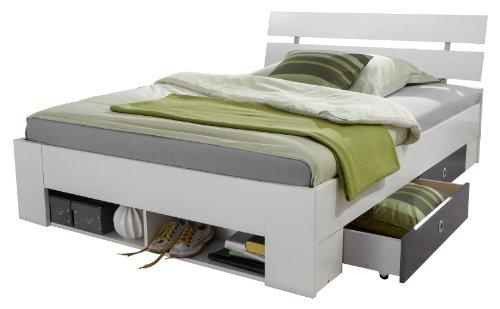 Wimex 380463 Funktionsbett Rocco 140 x 200 cm mit vier Schubkästen und Regalfach, alpinweiß, Absetzungen anthrazit