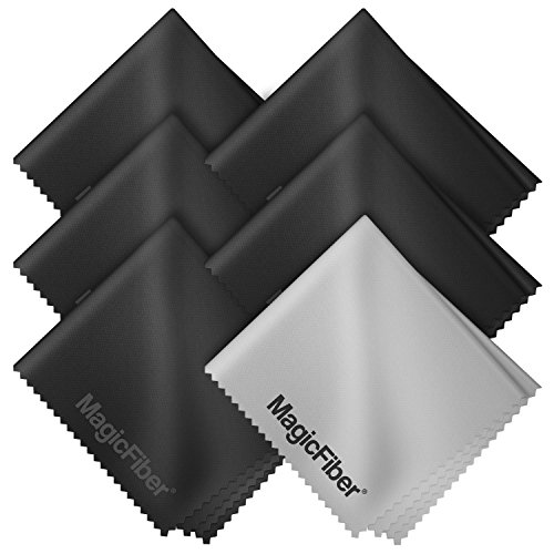 (6 Pack) MagicFiber Microfiber Cleaning Cloths - For All LCD Screens, Tablets, Lenses, and Other Delicate Surfaces (5 Black and 1 Grey 6x7