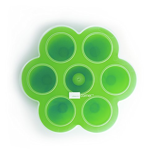 Domestic Corner - Silicone Baby Food Divider with Lid - Green (Silicone Yogurt Baby compare prices)