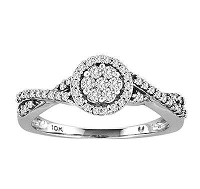 0.30ct Round Diamond 10k White Gold Infinity Twist Halo Cluster Engagement Ring
