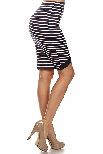 Sassy Apparel Women's Fitted Knee Length Wrapped Stripe Asymmetric Pencil Skirt