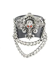 Red Eye Skull with 2 Fox Black Leather Heavily Metal Style Wristband Bracelet Cuff