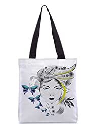 Snoogg Abstract Woman With Elegant Hair Style And Blue Butterflies Designer Poly Canvas Tote Bag
