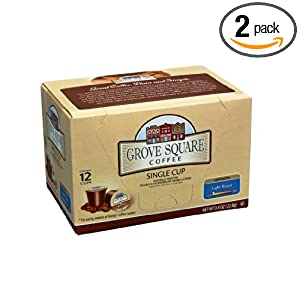 Grove Square Coffee, Light Roast, Single Serve Coffee Cup for Keurig K-Cup Brewers, 12-Count(Instant Coffee) (Pack of 2)