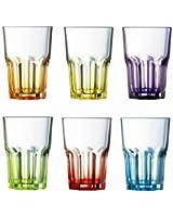Luminarc 9208299 America Crazy Colors Lot de 6 Gobelets de Forme Haute Couleurs Assortis 30 cl 27 x 18 x 11 cm