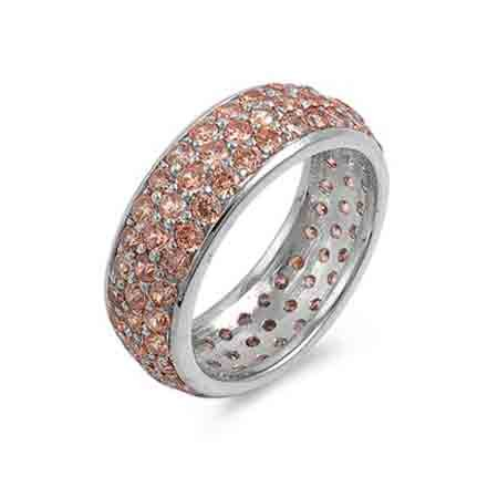 Sterling Silver Champagne CZ Eternity Ring Size 9
