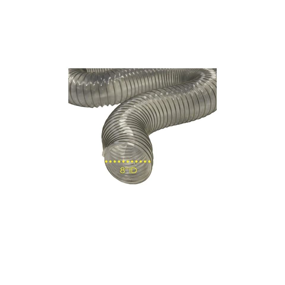 PVC Flexduct (Light Duty) Clear   Vent Hose   10 ID x 12.5ft Length Hose (Fully Stretched)