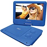 Blue : Sylvania 9-Inch Swivel Screen Portable DVD/CD/MP3 Player With 5 Hour Built-In Rechargeable Battery, USB/SD Card Reader, AC/DC Adapter, Blue